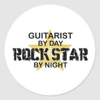 Guitarist Rock Star by Night Classic Round Sticker