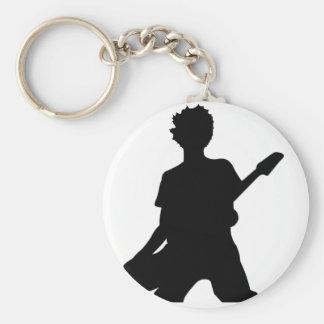 Guitarist Silhouette - B&W Basic Round Button Keychain