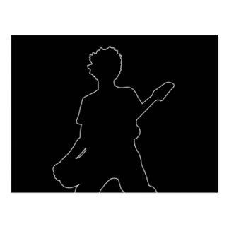 Guitarist Silhouette - B&W Postcard