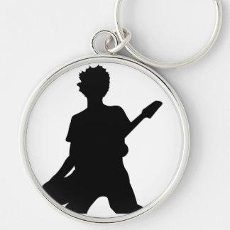 Guitarist Silhouette - B&W Silver-Colored Round Keychain