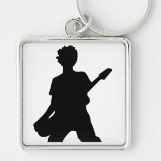 Guitarist Silhouette - B&W Silver-Colored Square Keychain