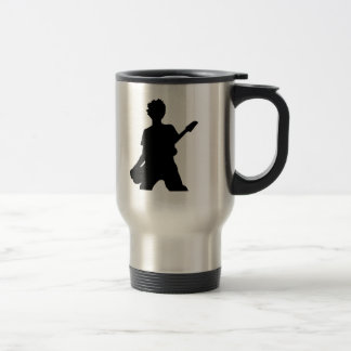 Guitarist Silhouette - B&W Travel Mug