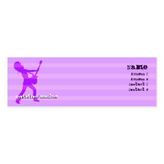 Guitarist  Stripes Purple - Skinny Double-Sided Mini Business Cards (Pack Of 20)