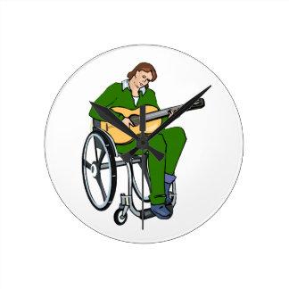 guitarist wheelchair graphic green.png wall clock