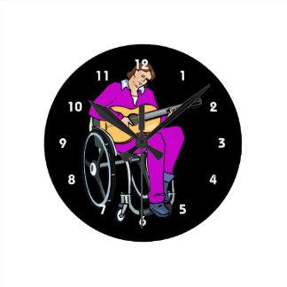 guitarist wheelchair graphic purple.png round clocks