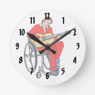 guitarist wheelchair graphic red.png round clock