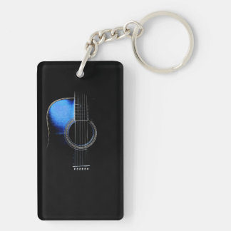 Guitarist's Blue Acoustic Guitar Keychain