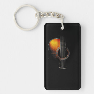 Guitarist's Natural Acoustic Guitar Keychain
