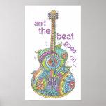 """Guitarra 14"""" del hippy x 24"""" poster póster"""