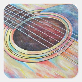 Guitarra 2 pegatina cuadrada