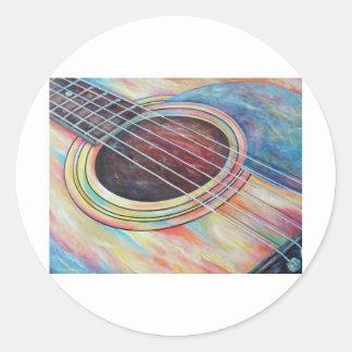 Guitarra 2 pegatina redonda