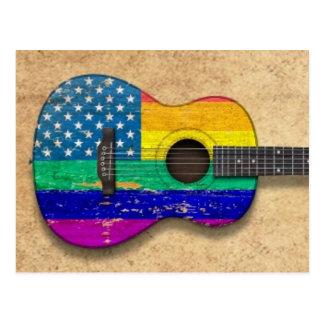 Guitarra acústica americana del orgullo gay del ar tarjetas postales
