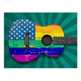 Guitarra acústica americana del orgullo gay del ar postal