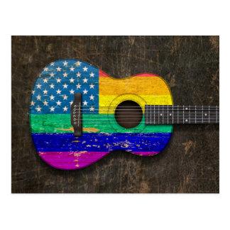 Guitarra acústica americana gastada del orgullo ga postal