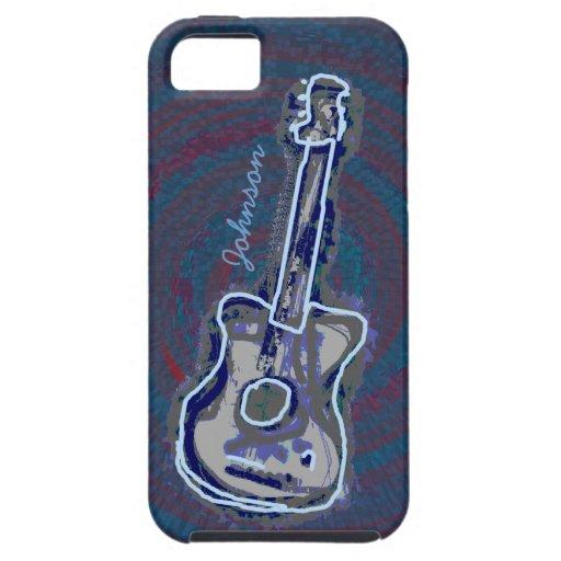 guitarra acústica azul personalizada iPhone 5 coberturas