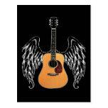 Guitarra acústica coa alas tarjeta postal