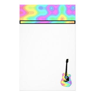 Guitarra acústica colorida maravillosa personalized stationery