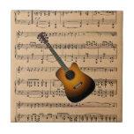 Guitarra acústica con el fondo de la partitura tejas
