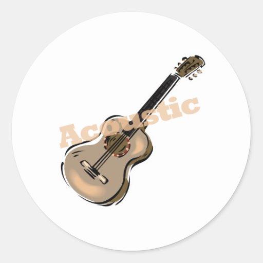 guitarra acústica con el texto pegatina redonda