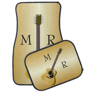 Guitarra acústica con monograma alfombrilla de coche