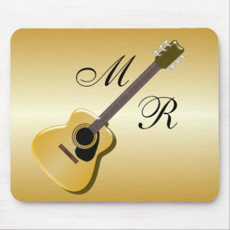 Guitarra acústica con monograma alfombrilla de ratón
