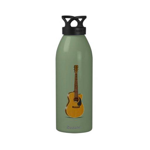 Guitarra acústica cortada botella de beber