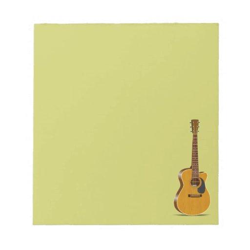 Guitarra acústica cortada libreta para notas