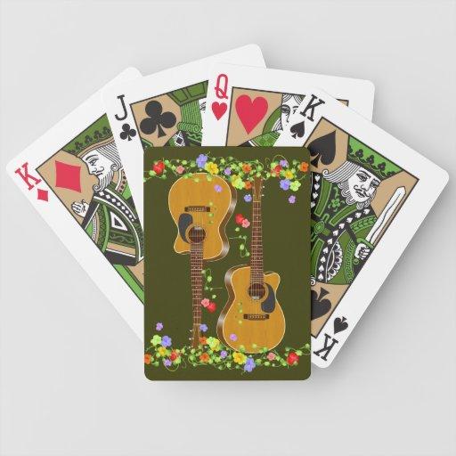 Guitarra acústica cortada baraja de cartas