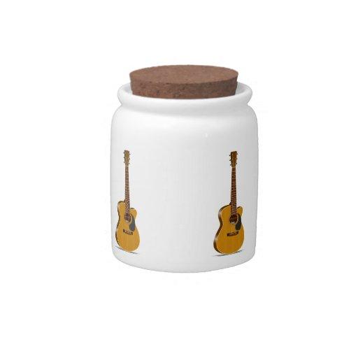 Guitarra acústica cortada plato para caramelo