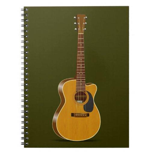 Guitarra acústica cortada libretas espirales