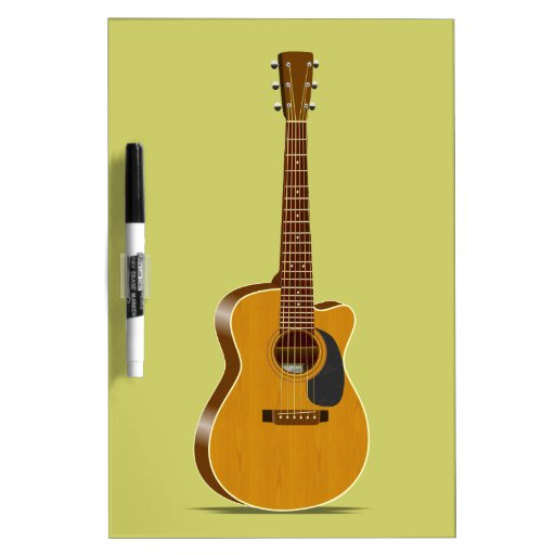 Guitarra acústica cortada tablero blanco