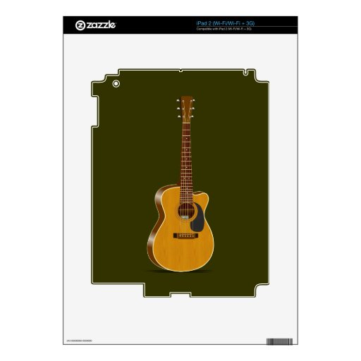 Guitarra acústica cortada skins para iPad 2
