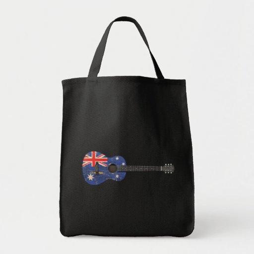 Guitarra acústica de la bandera australiana gastad bolsas