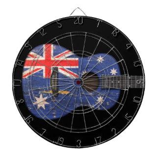 Guitarra acústica de la bandera australiana gastad tablero dardos