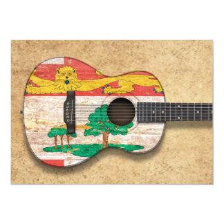 Guitarra acústica de la bandera de Isla del Invitación 12,7 X 17,8 Cm