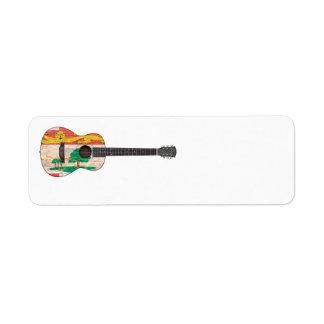 Guitarra acústica de la bandera de Isla del Princi Etiqueta De Remite