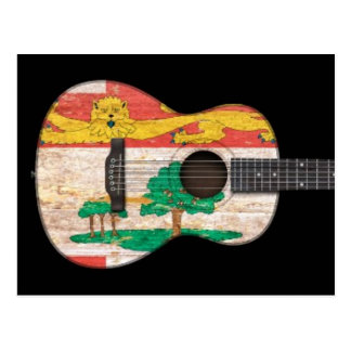 Guitarra acústica de la bandera de Isla del Princi Tarjetas Postales