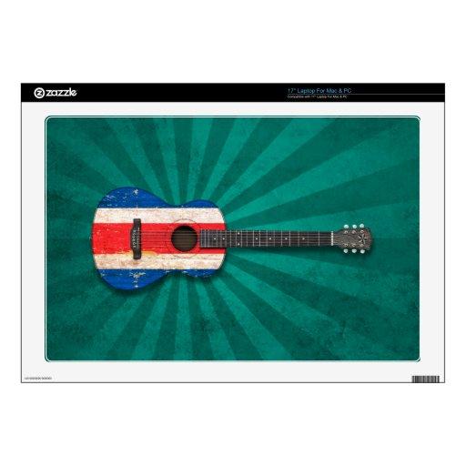Guitarra acústica de la bandera gastada de Costa R 43,2cm Portátil Calcomanía