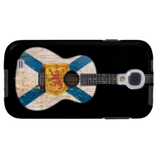 Guitarra acústica de la bandera gastada de Nueva E Funda Para Galaxy S4