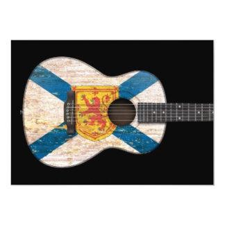 """Guitarra acústica de la bandera gastada de Nueva Invitación 5"""" X 7"""""""