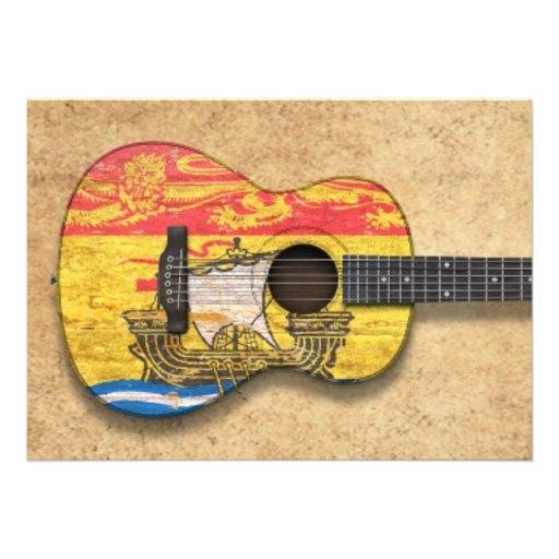 Guitarra acústica de la bandera gastada de Nuevo B Invitaciones Personalizada