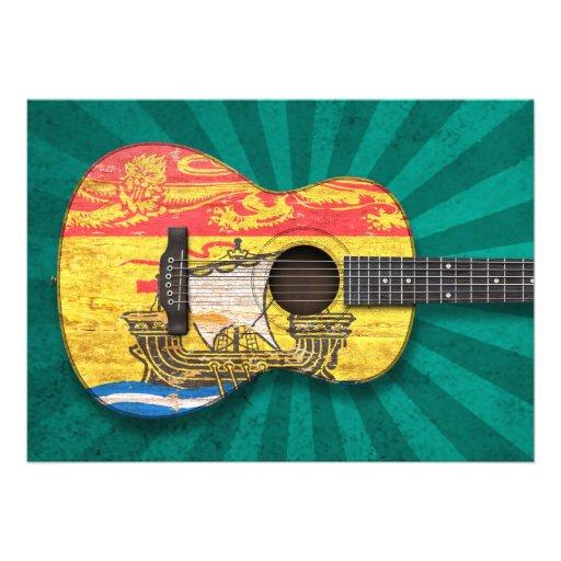 Guitarra acústica de la bandera gastada de Nuevo B Invitacion Personalizada