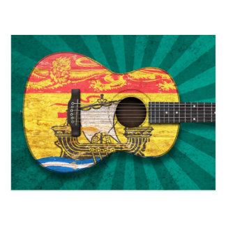 Guitarra acústica de la bandera gastada de Nuevo B Tarjeta Postal