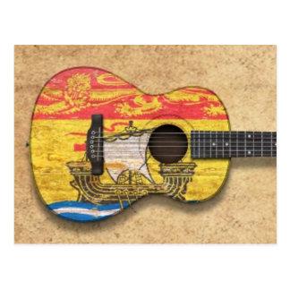 Guitarra acústica de la bandera gastada de Nuevo Postal