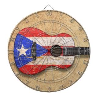 Guitarra acústica de la bandera gastada de Puerto  Tablero Dardos