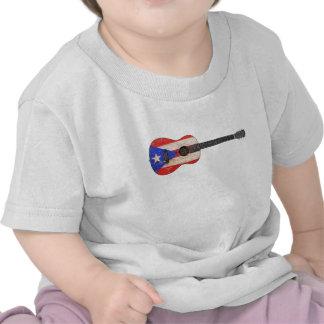 Guitarra acústica de la bandera gastada de Puerto  Camiseta