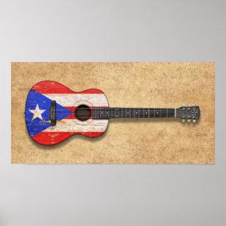 Guitarra acústica de la bandera gastada de Puerto Póster