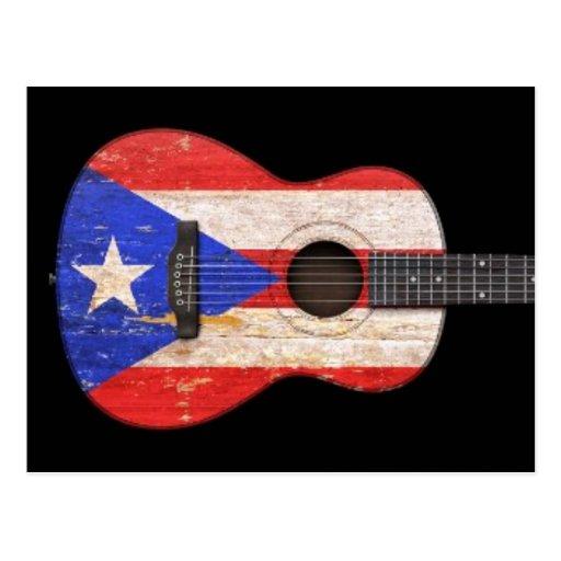 Guitarra acústica de la bandera gastada de Puerto  Tarjeta Postal