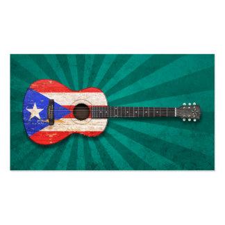 Guitarra acústica de la bandera gastada de Puerto  Tarjetas De Visita