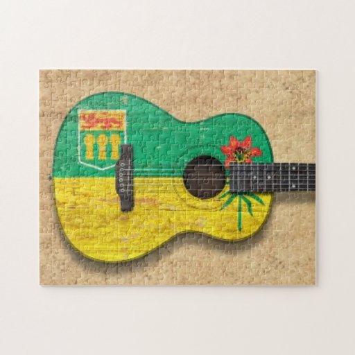 Guitarra acústica de la bandera gastada de Saskatc Rompecabeza